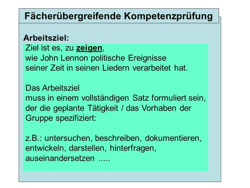 Ziel ist es, zu zeigen, wie John Lennon politische Ereignisse seiner Zeit in seinen Liedern verarbeitet hat.