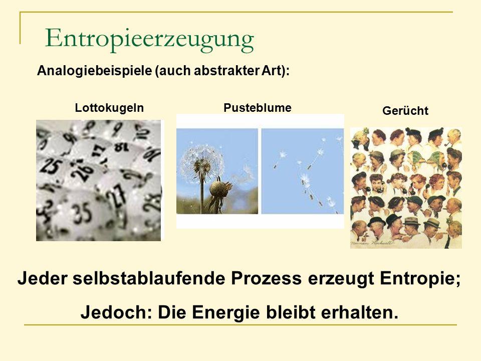 Entropieerzeugung Analogiebeispiele (auch abstrakter Art): LottokugelnPusteblume Gerücht Jeder selbstablaufende Prozess erzeugt Entropie; Jedoch: Die
