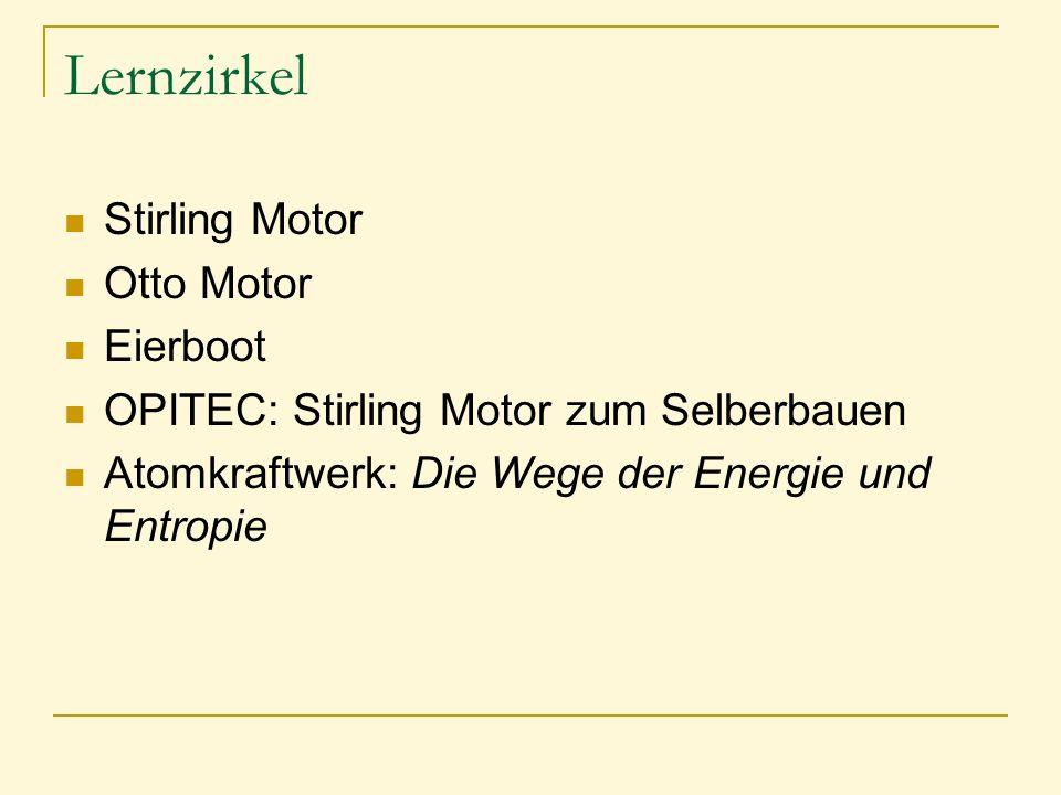 Lernzirkel Stirling Motor Otto Motor Eierboot OPITEC: Stirling Motor zum Selberbauen Atomkraftwerk: Die Wege der Energie und Entropie