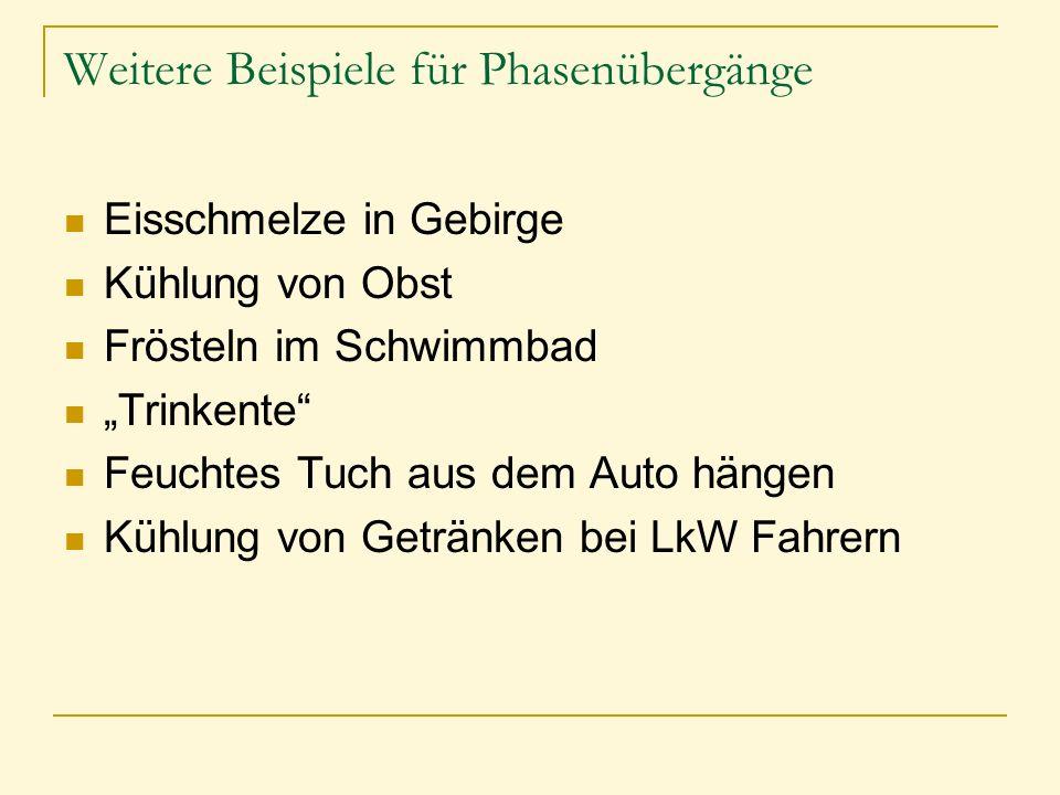 """Weitere Beispiele für Phasenübergänge Eisschmelze in Gebirge Kühlung von Obst Frösteln im Schwimmbad """"Trinkente"""" Feuchtes Tuch aus dem Auto hängen Küh"""