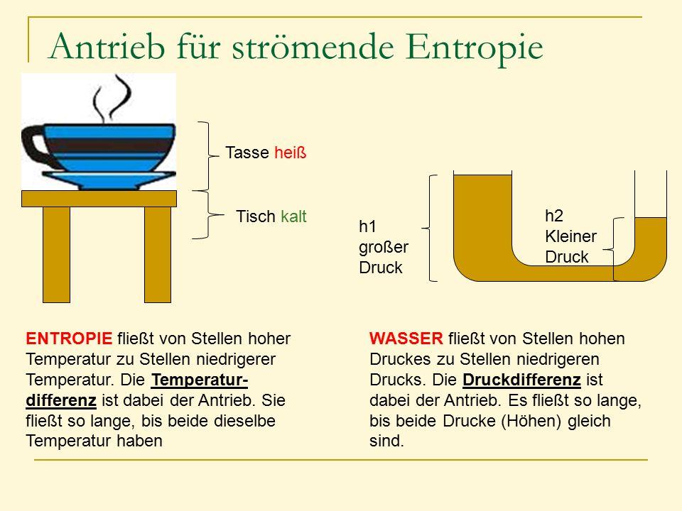 Antrieb für strömende Entropie Tasse heiß Tisch kalt h1 großer Druck h2 Kleiner Druck ENTROPIE fließt von Stellen hoher Temperatur zu Stellen niedrige