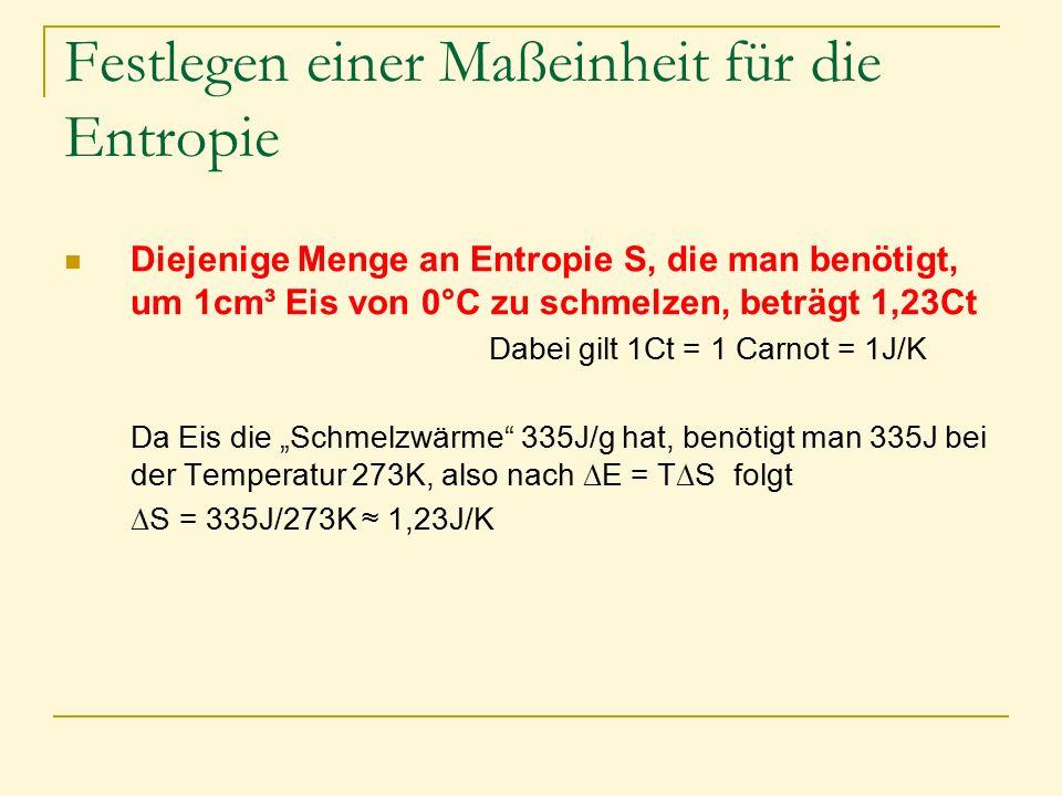 Festlegen einer Maßeinheit für die Entropie Diejenige Menge an Entropie S, die man benötigt, um 1cm³ Eis von 0°C zu schmelzen, beträgt 1,23Ct Dabei gi