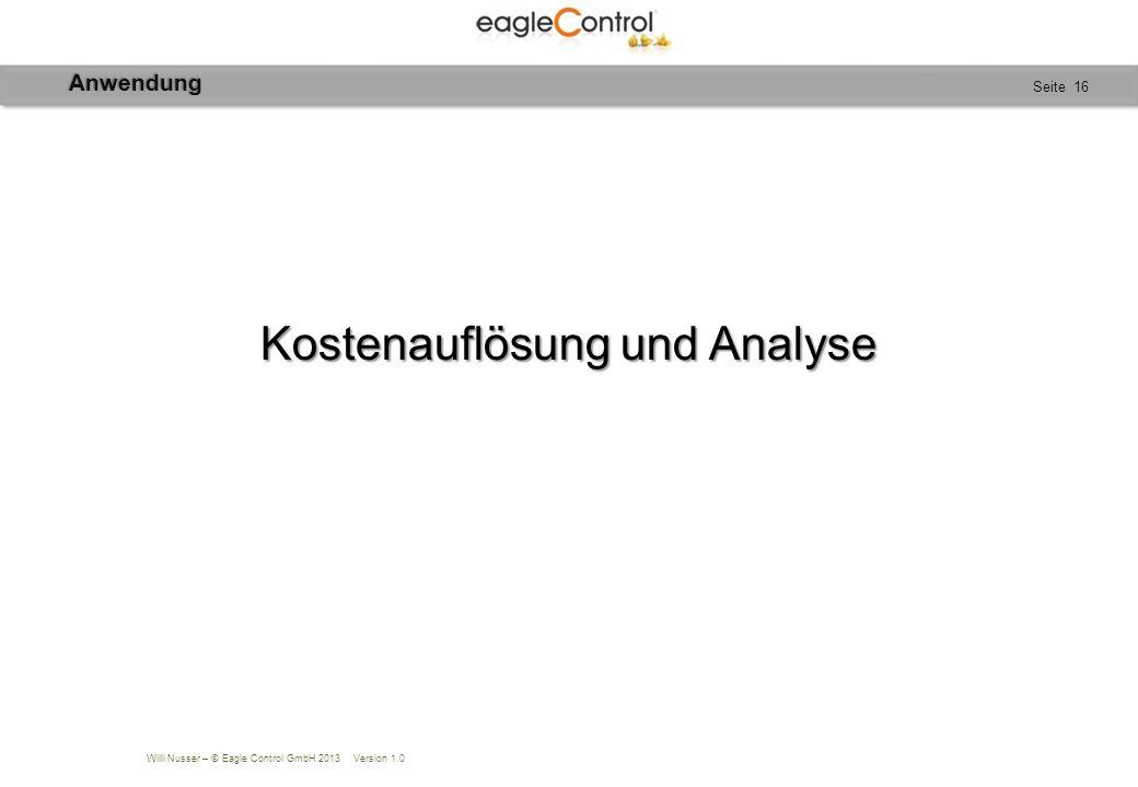 Willi Nusser – © Eagle Control GmbH 2013 Version 1.0 Seite 16 Kostenauflösung und Analyse Anwendung