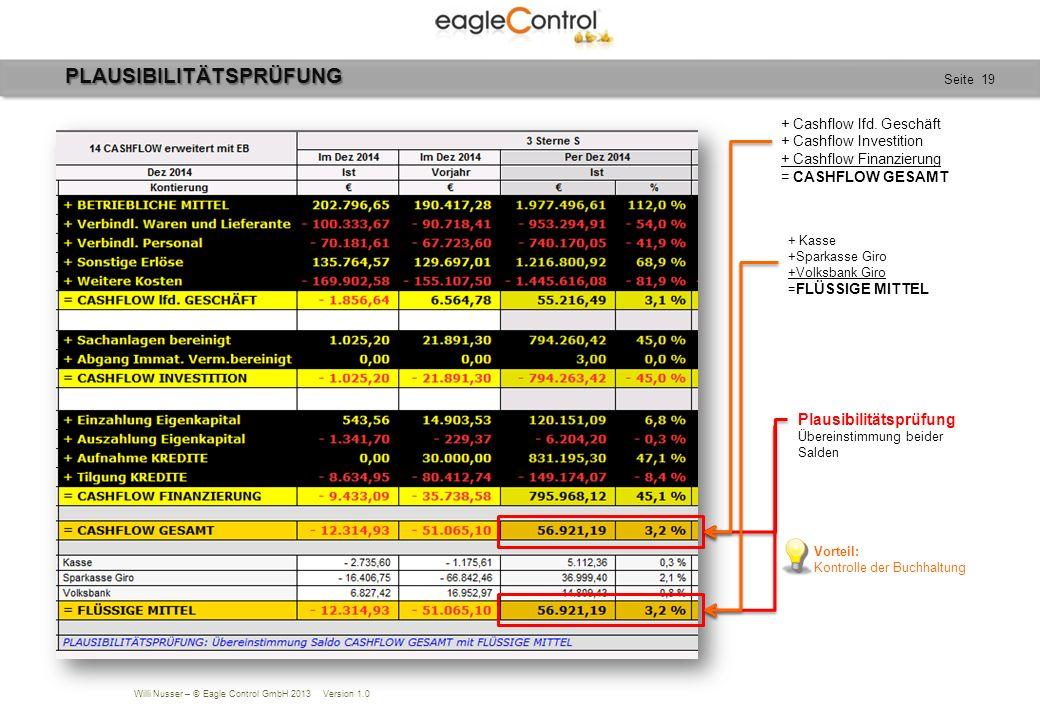 Willi Nusser – © Eagle Control GmbH 2013 Version 1.0 Seite 19PLAUSIBILITÄTSPRÜFUNG + Cashflow lfd.