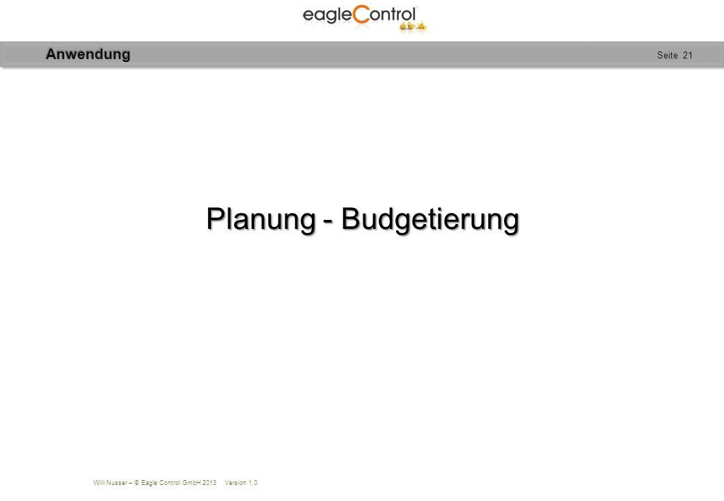 Willi Nusser – © Eagle Control GmbH 2013 Version 1.0 Seite 21 Planung - Budgetierung Anwendung