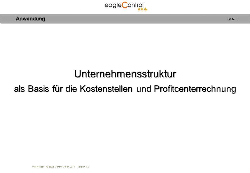 Willi Nusser – © Eagle Control GmbH 2013 Version 1.0 Seite 9 Unternehmensstruktur Hierarische Strukturierung Für jeden Betrieb individuell Vorteil: Struktur wird auf alle Bereiche übertragen: Konten, Kontengruppen und Berichte.