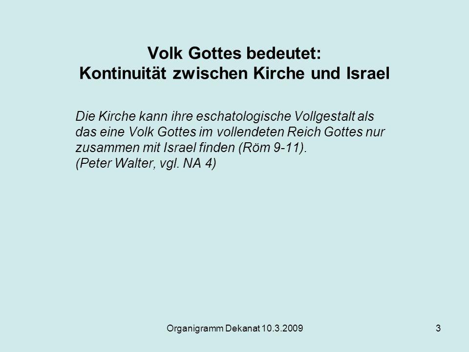 Organigramm Dekanat 10.3.20093 Volk Gottes bedeutet: Kontinuität zwischen Kirche und Israel Die Kirche kann ihre eschatologische Vollgestalt als das e