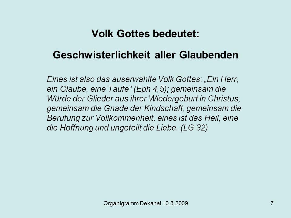 """Organigramm Dekanat 10.3.20097 Volk Gottes bedeutet: Geschwisterlichkeit aller Glaubenden Eines ist also das auserwählte Volk Gottes: """"Ein Herr, ein G"""