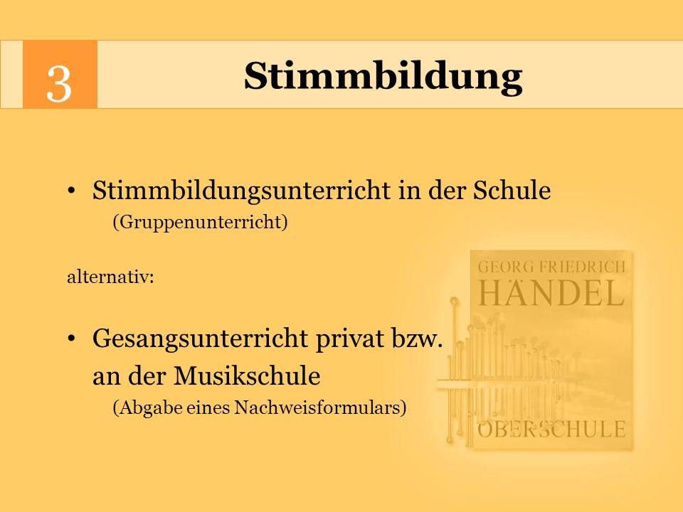 3 Stimmbildung Stimmbildungsunterricht in der Schule (Gruppenunterricht) alternativ: Gesangsunterricht privat bzw.