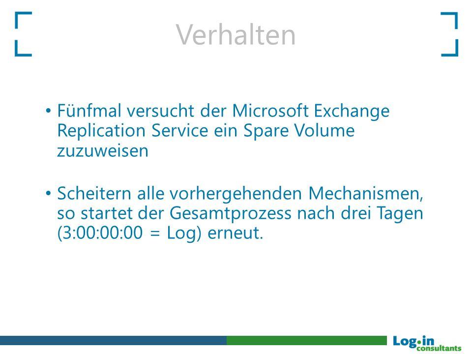 Verhalten Fünfmal versucht der Microsoft Exchange Replication Service ein Spare Volume zuzuweisen Scheitern alle vorhergehenden Mechanismen, so startet der Gesamtprozess nach drei Tagen (3:00:00:00 = Log) erneut.