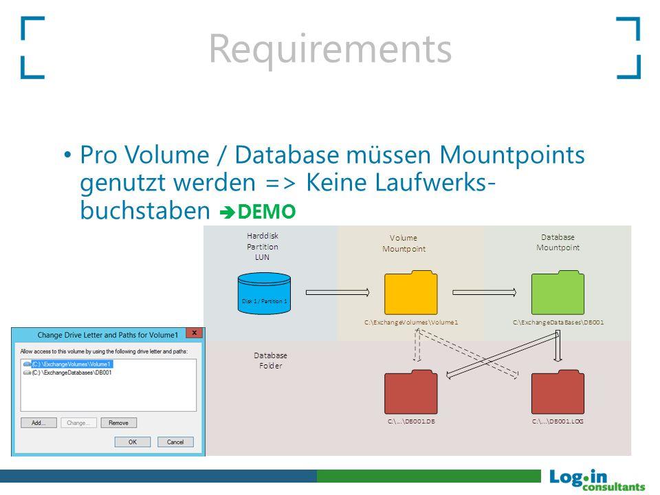 Requirements Pro Volume / Database müssen Mountpoints genutzt werden => Keine Laufwerks- buchstaben  DEMO