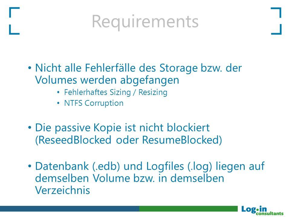 Requirements Nicht alle Fehlerfälle des Storage bzw.