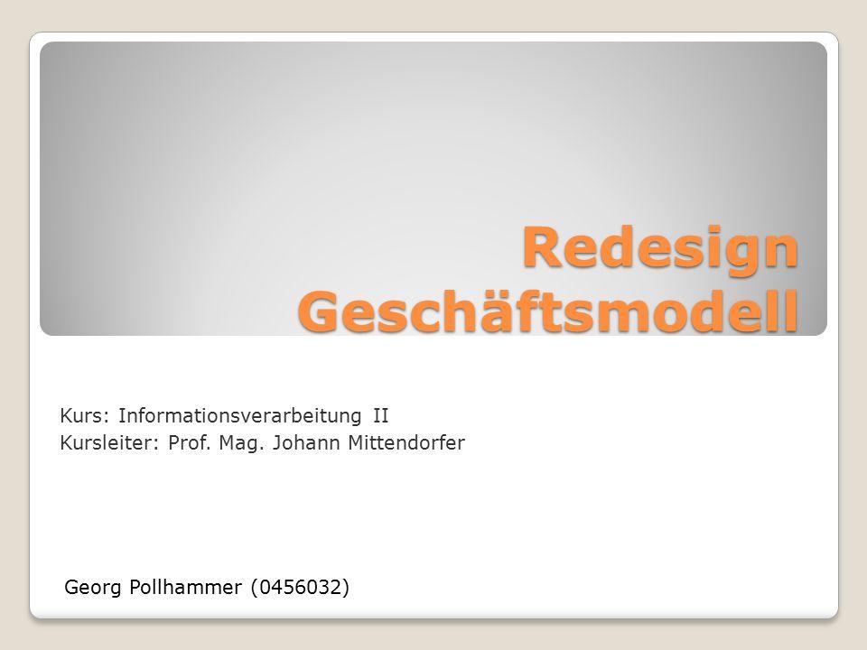 Redesign Geschäftsmodell Georg Pollhammer (0456032) Kurs: Informationsverarbeitung II Kursleiter: Prof.