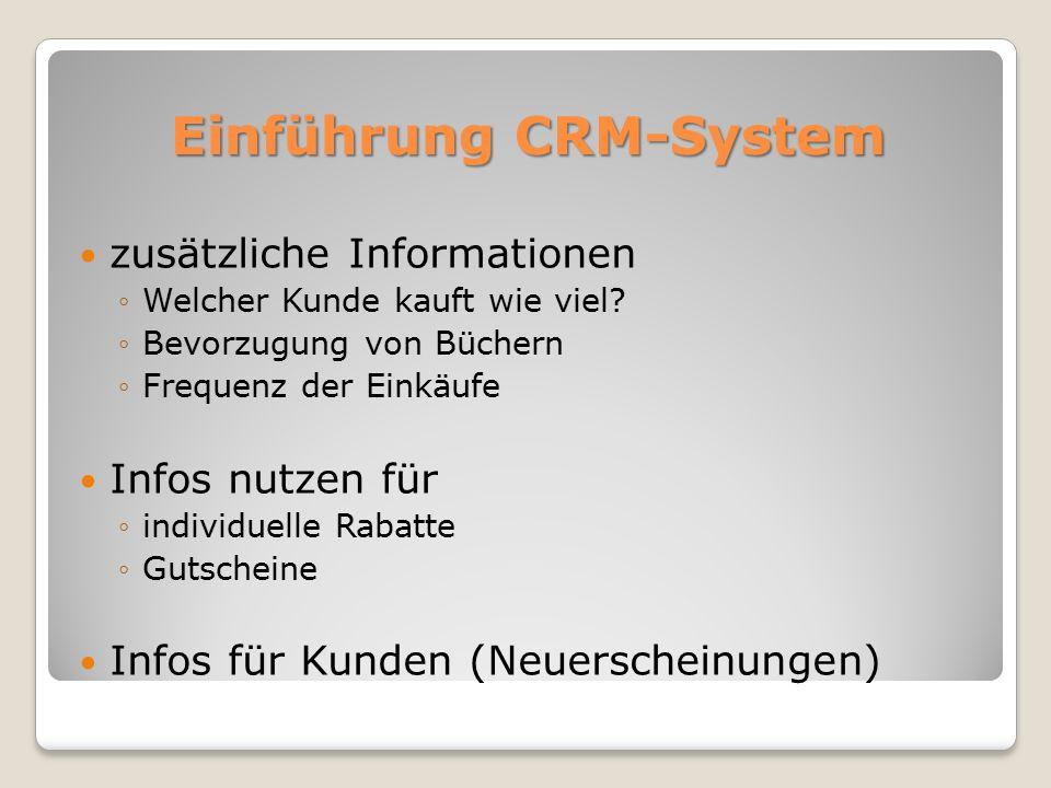 Einführung CRM-System zusätzliche Informationen ◦Welcher Kunde kauft wie viel.