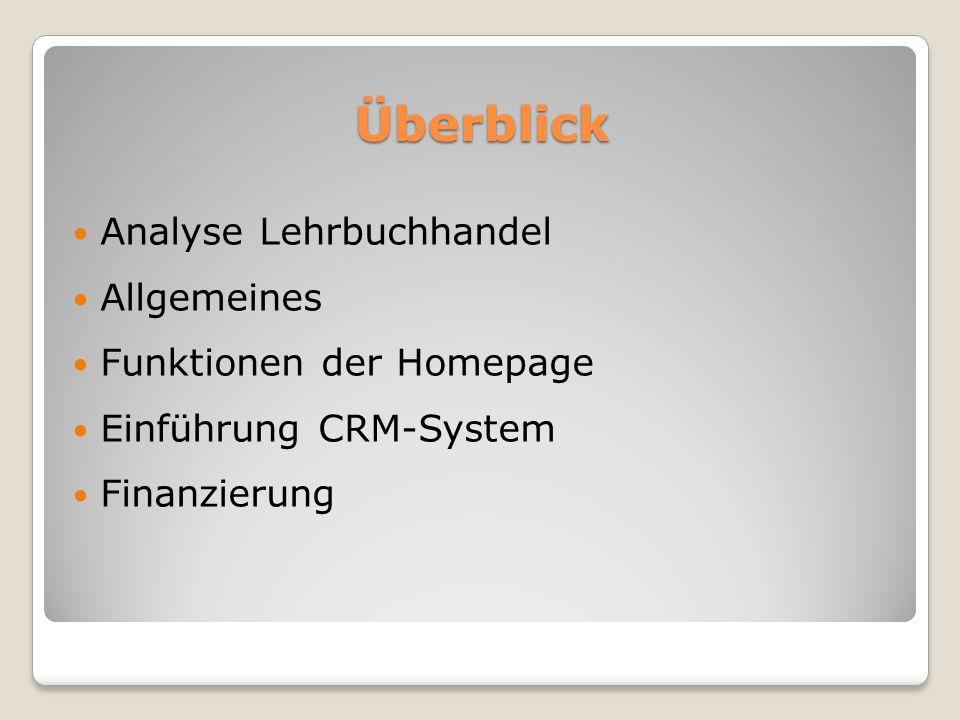 Überblick Analyse Lehrbuchhandel Allgemeines Funktionen der Homepage Einführung CRM-System Finanzierung