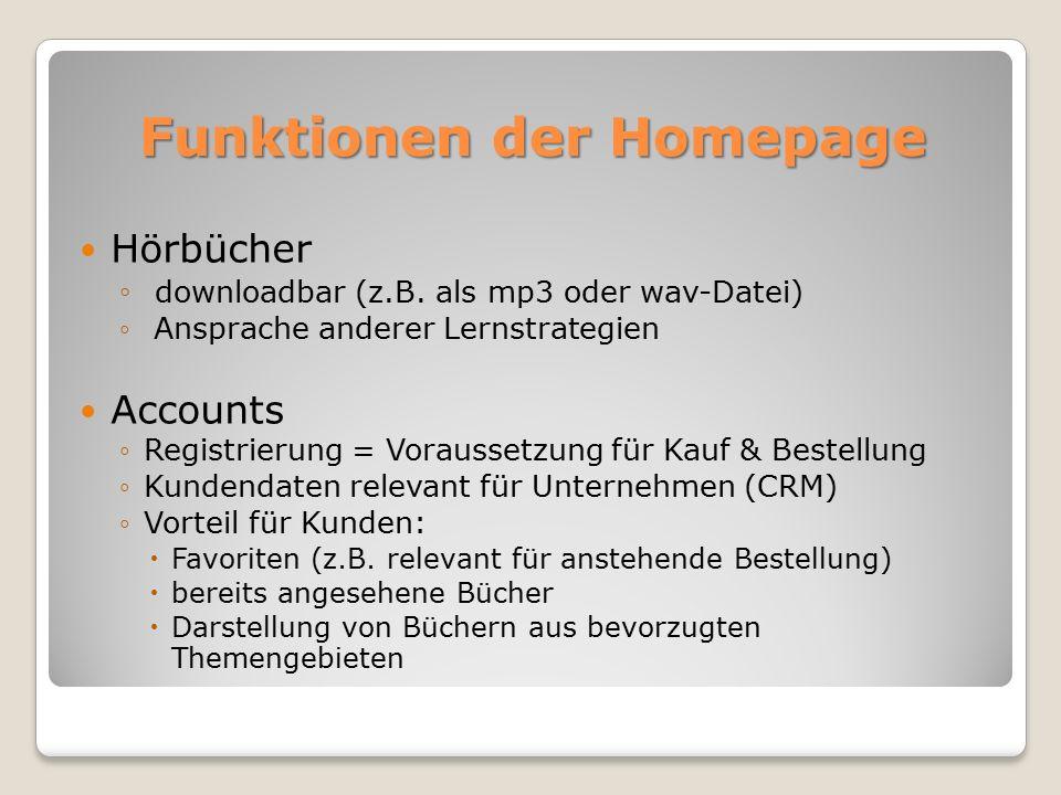Funktionen der Homepage Hörbücher ◦ downloadbar (z.B.