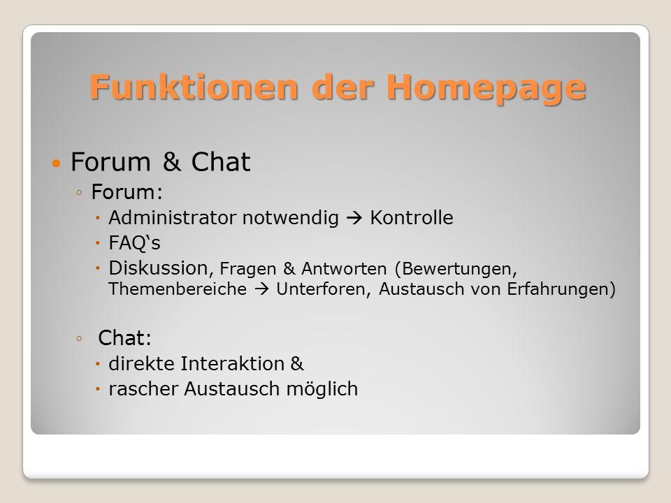 Funktionen der Homepage Forum & Chat ◦Forum:  Administrator notwendig  Kontrolle  FAQ's  Diskussion, Fragen & Antworten (Bewertungen, Themenbereiche  Unterforen, Austausch von Erfahrungen) ◦ Chat:  direkte Interaktion &  rascher Austausch möglich