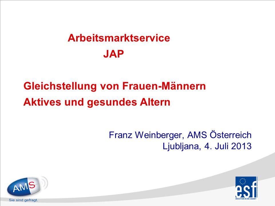 Arbeitsmarktservice JAP Gleichstellung von Frauen-Männern Aktives und gesundes Altern Franz Weinberger, AMS Österreich Ljubljana, 4.
