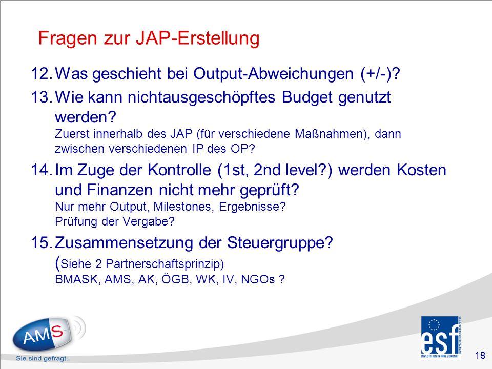 18 Fragen zur JAP-Erstellung 12.Was geschieht bei Output-Abweichungen (+/-).