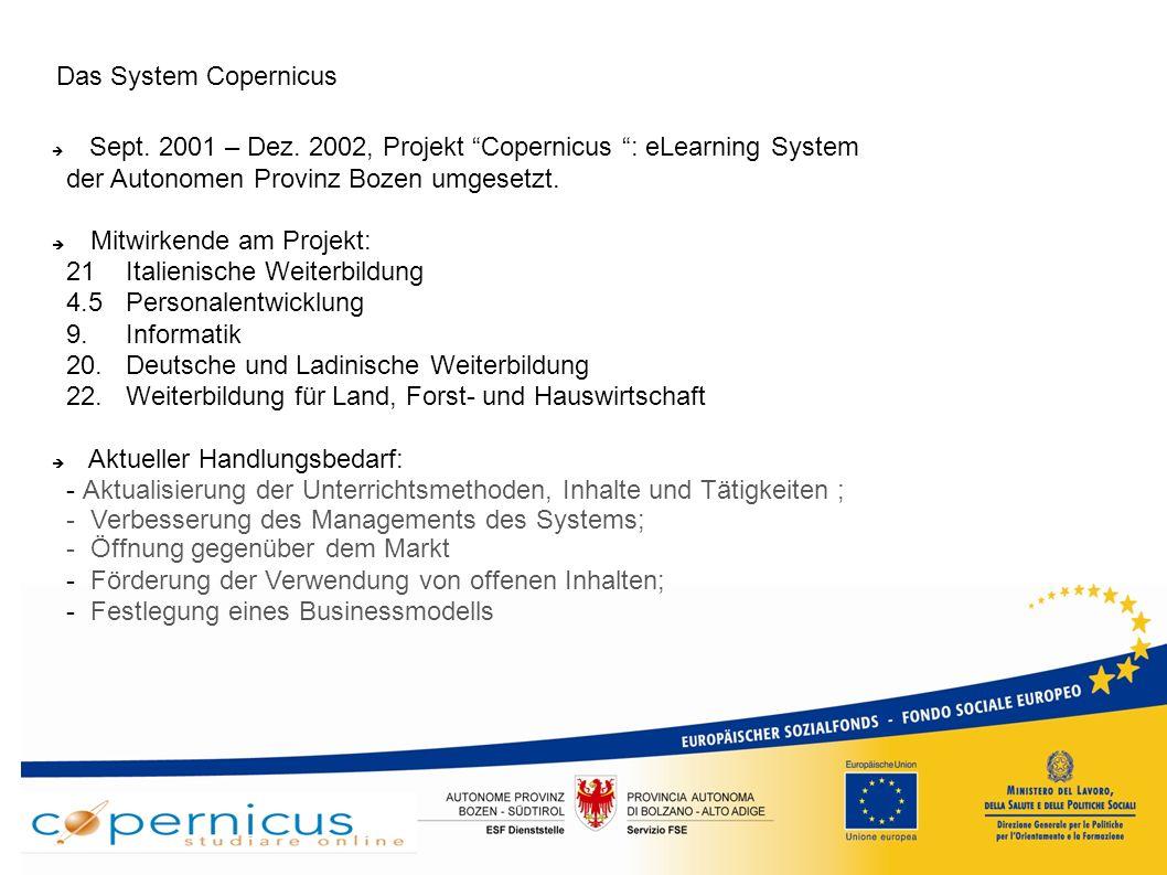 """ESF – Projekt 2-223-2008: """"Future Copernicus Ziele des Projektes: Austausch von guten Praktiken Verbesserung der transnationalen und interregionalen Zusammenarbeit Festlegung eines wirtschaftlich und strategisch tragbaren Modells Entwicklung von Lehrmodellen die auf den neuen Technologien basieren Verstärkung der Synergien zwischen lokalen Akteuren Förderung Südtirols aus wirtschaftlicher und kultureller Sicht Dauer des Projektes: 01.07.2009 - 30.09.2010"""