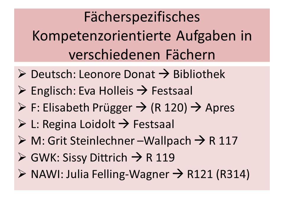 Fächerspezifisches Kompetenzorientierte Aufgaben in verschiedenen Fächern  Deutsch: Leonore Donat  Bibliothek  Englisch: Eva Holleis  Festsaal  F