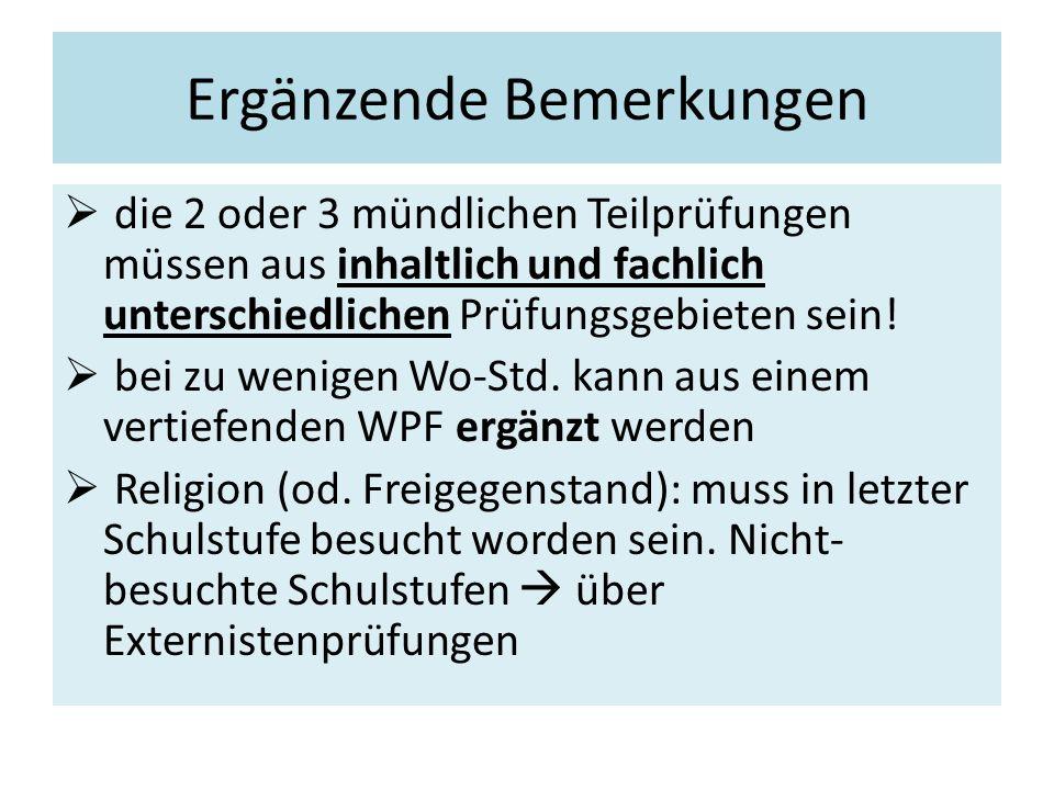 Themenbereiche (Themenpools) Zahl der Aufgabenstellungen  Pro Wochenstunde  3 Themen  maximal 24  Abweichungen: z.B.: Lebende Fremdsprache od.
