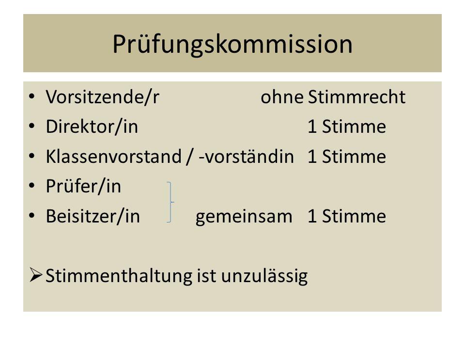 Prüfungskommission Vorsitzende/rohne Stimmrecht Direktor/in1 Stimme Klassenvorstand / -vorständin1 Stimme Prüfer/in Beisitzer/in gemeinsam1 Stimme  S