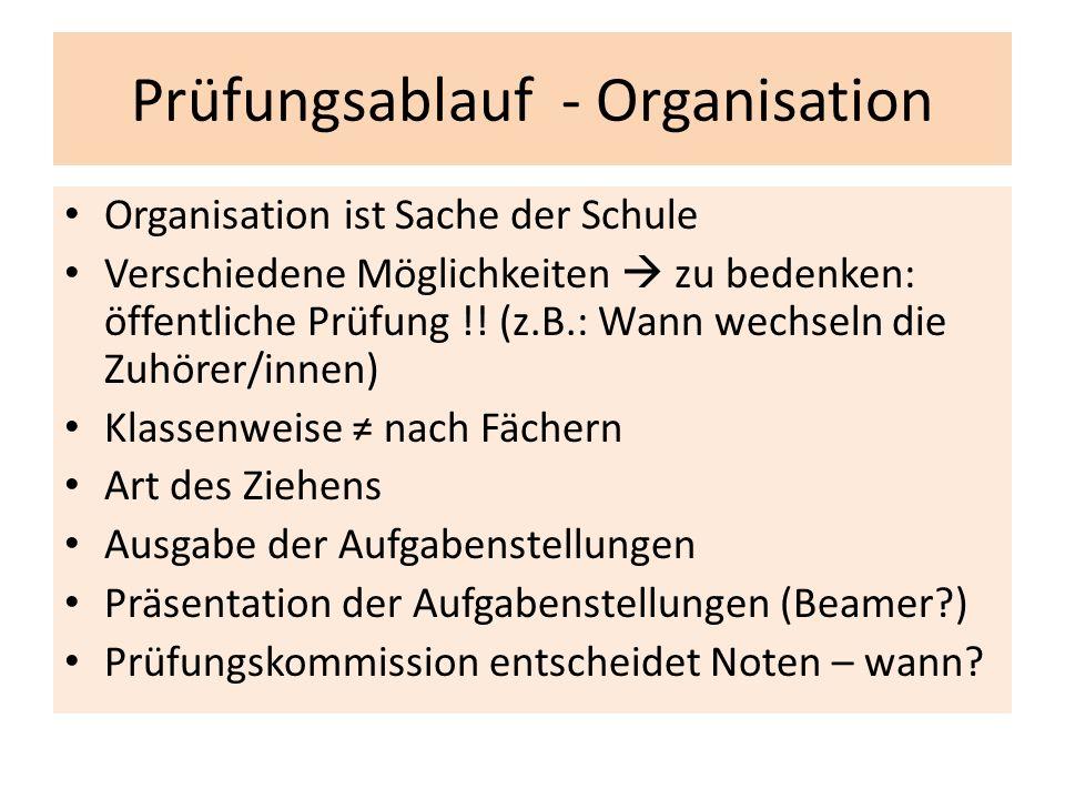 Prüfungsablauf - Organisation Organisation ist Sache der Schule Verschiedene Möglichkeiten  zu bedenken: öffentliche Prüfung !! (z.B.: Wann wechseln