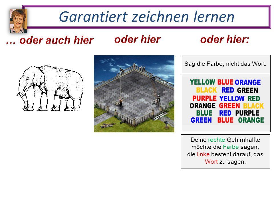 Deine rechte Gehirnhälfte möchte die Farbe sagen, die linke besteht darauf, das Wort zu sagen.