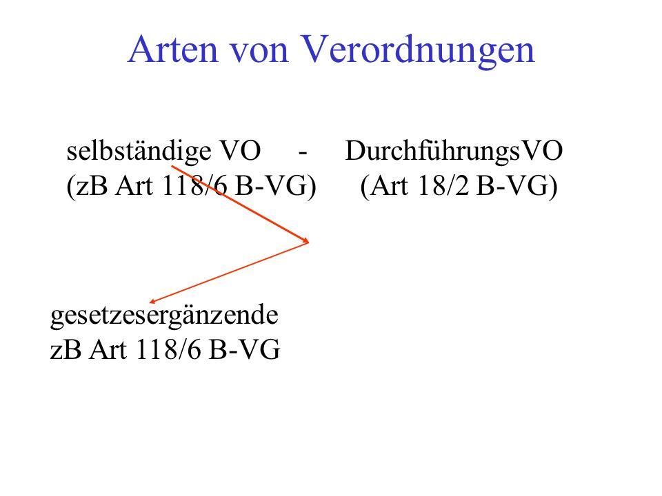 Arten von Verordnungen selbständige VO - DurchführungsVO (zB Art 118/6 B-VG) (Art 18/2 B-VG) gesetzesergänzende zB Art 118/6 B-VG