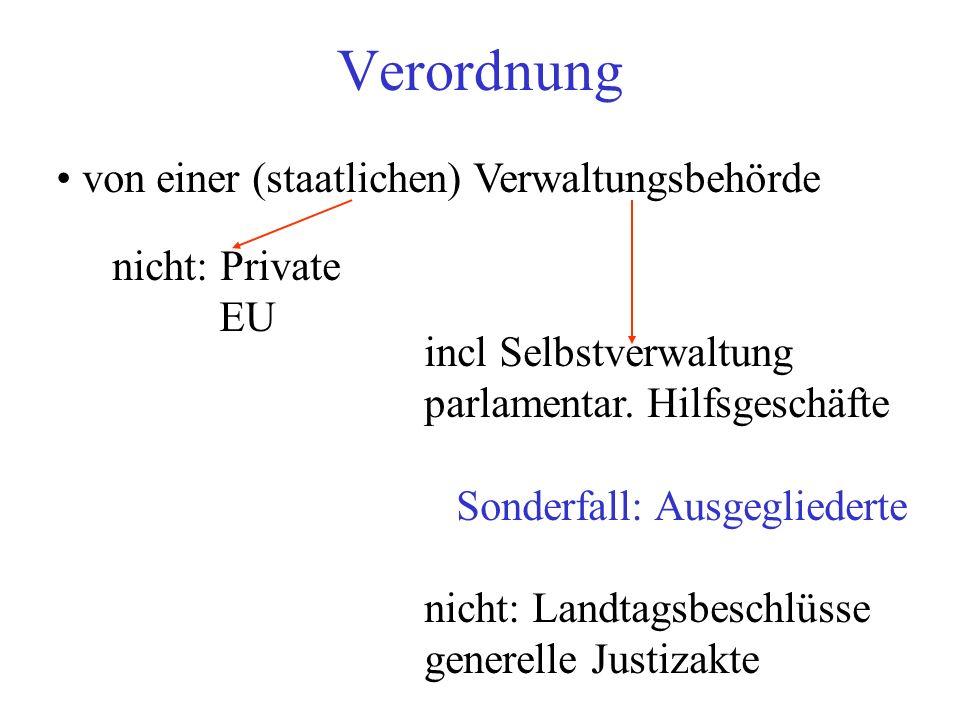 Verordnung von einer (staatlichen) Verwaltungsbehörde nicht: Private EU incl Selbstverwaltung parlamentar.