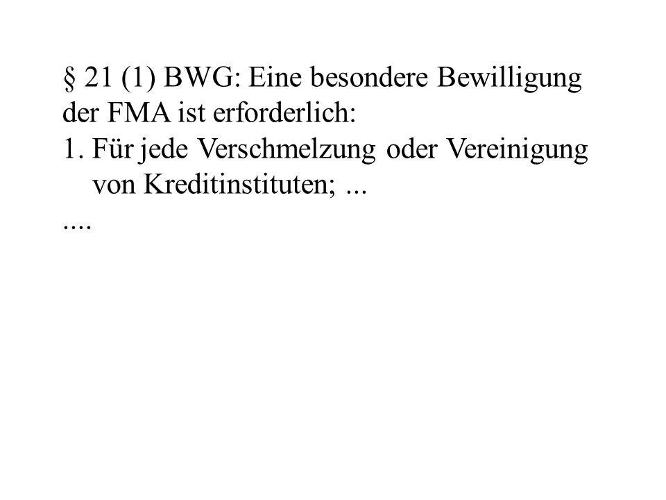 § 21 (1) BWG: Eine besondere Bewilligung der FMA ist erforderlich: 1.