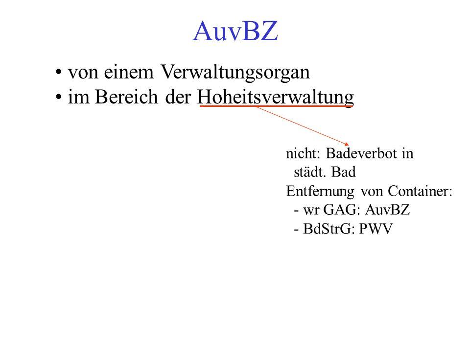 AuvBZ von einem Verwaltungsorgan im Bereich der Hoheitsverwaltung nicht: Badeverbot in städt.