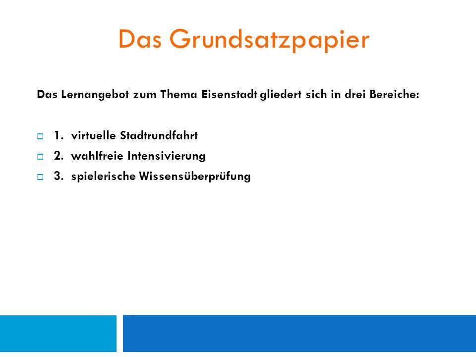 Das Grundsatzpapier Das Lernangebot zum Thema Eisenstadt gliedert sich in drei Bereiche:  1.