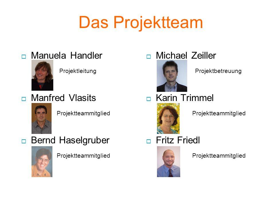 Das Projektteam  Manuela Handler Projektleitung  Manfred Vlasits Projektteammitglied  Bernd Haselgruber Projektteammitglied  Michael Zeiller Projektbetreuung  Karin Trimmel Projektteammitglied  Fritz Friedl Projektteammitglied