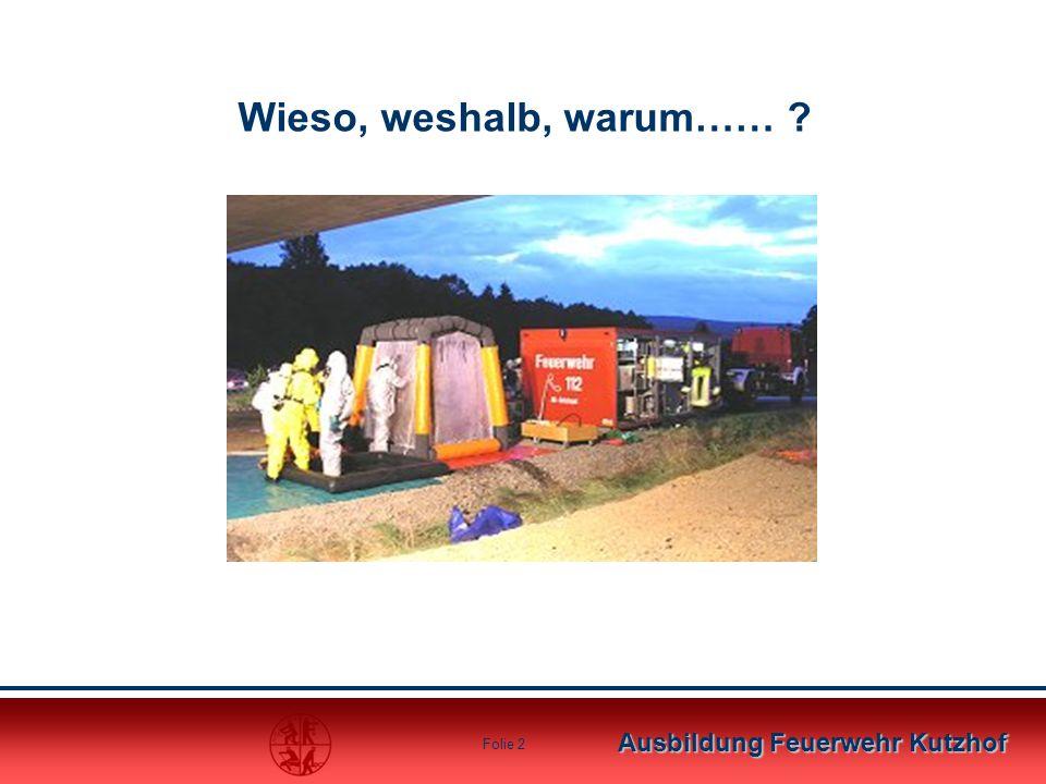 Ausbildung Feuerwehr Kutzhof Folie 23 Das Hygienebrett (eine mögliche Alternative) Ein Wasseranschluss mit Wasserhahn Wasser (Hydrant oder Tank) Seife Papierhandtücher Material zur Grobreinigung (Bürste o.ä.) Müllbeutel zur Verpackung