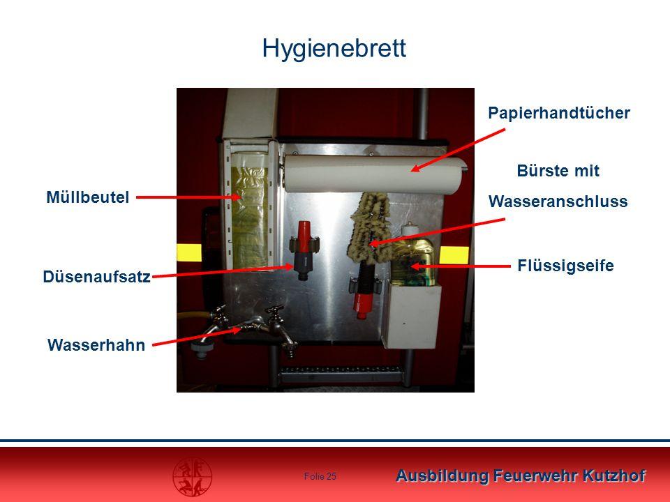 Ausbildung Feuerwehr Kutzhof Folie 25 Hygienebrett Müllbeutel Düsenaufsatz Wasserhahn Papierhandtücher Bürste mit Wasseranschluss Flüssigseife