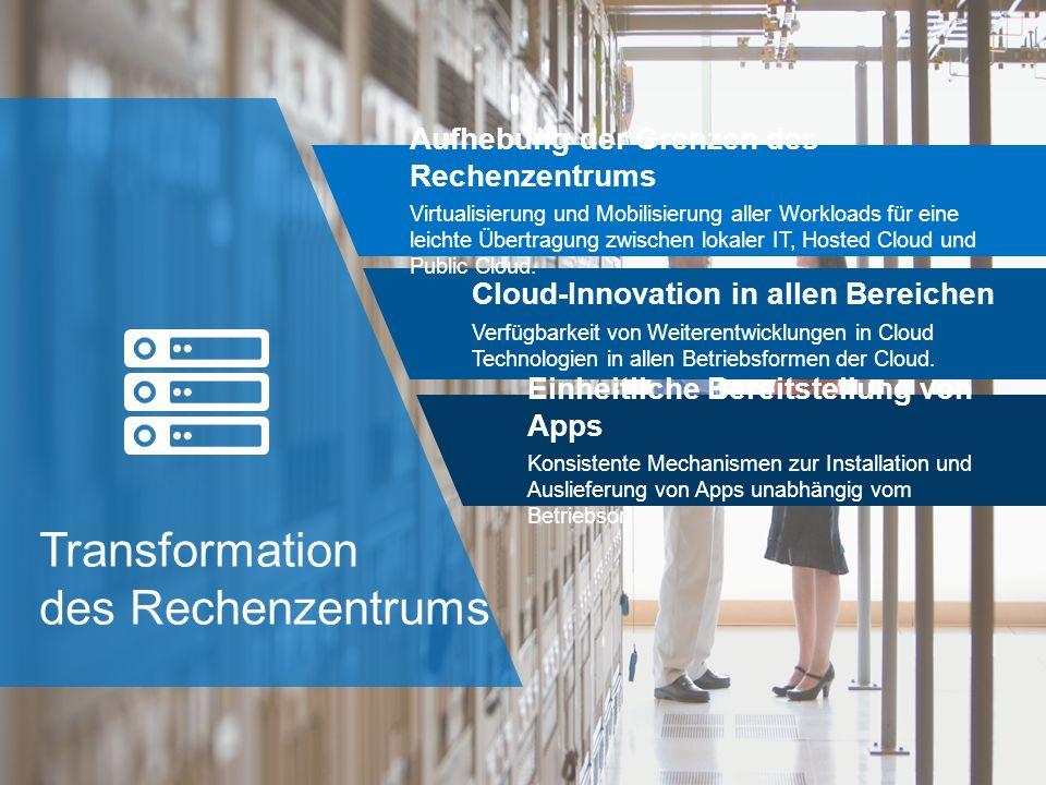 Transformation des Rechenzentrums Aufhebung der Grenzen des Rechenzentrums Virtualisierung und Mobilisierung aller Workloads für eine leichte Übertragung zwischen lokaler IT, Hosted Cloud und Public Cloud.