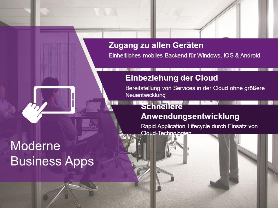 Moderne Business Apps Zugang zu allen Geräten Einheitliches mobiles Backend für Windows, iOS & Android Einbeziehung der Cloud Bereitstellung von Services in der Cloud ohne größere Neuentwicklung Schnellere Anwendungsentwicklung Rapid Application Lifecycle durch Einsatz von Cloud-Technologien