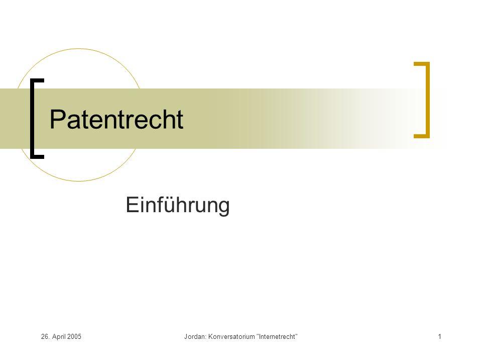 26. April 2005Jordan: Konversatorium Internetrecht 1 Patentrecht Einführung