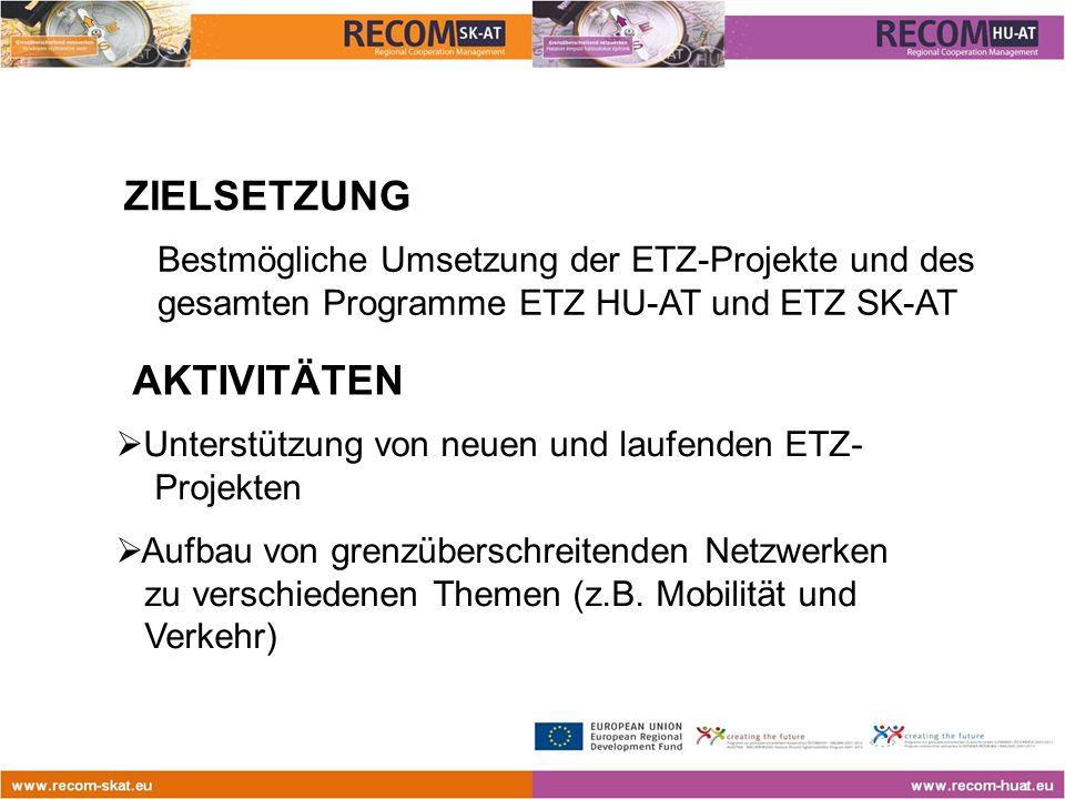  Unterstützung von neuen und laufenden ETZ- Projekten  Aufbau von grenzüberschreitenden Netzwerken zu verschiedenen Themen (z.B.