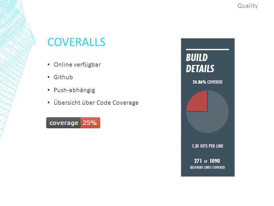 COVERALLS ▪ Online verfügbar ▪ Github ▪ Push-abhängig ▪ Übersicht über Code Coverage Quality