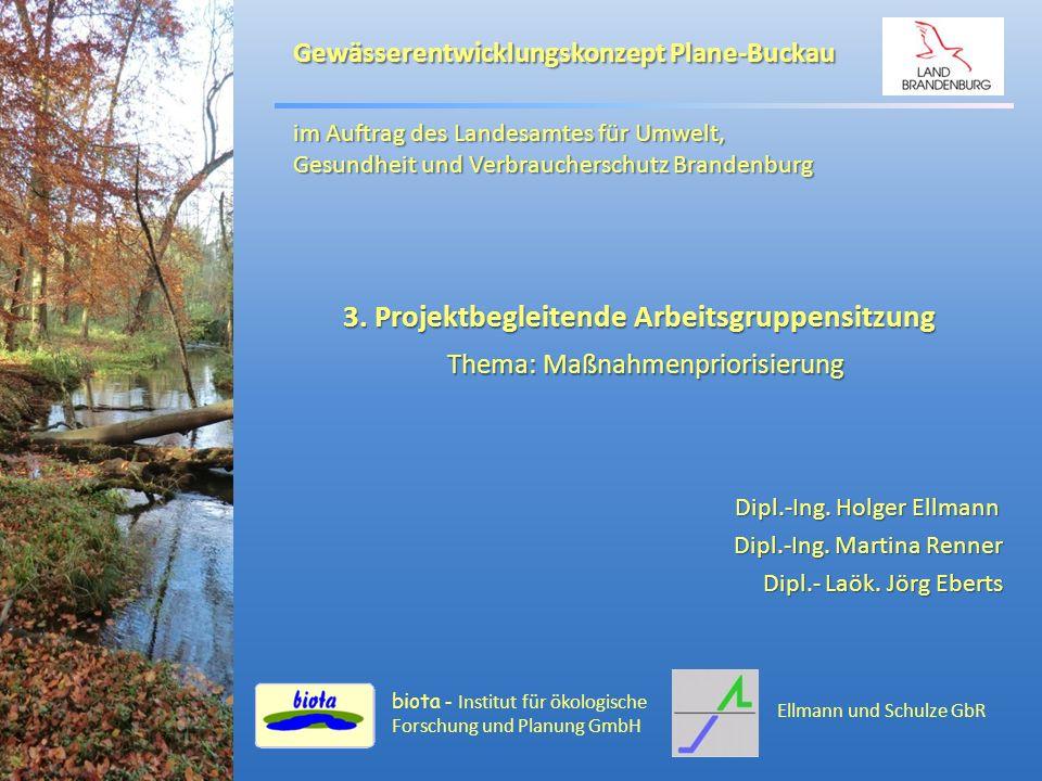 Gewässerentwicklungskonzept Plane-Buckau Inhalt: Inhalt: Bearbeitungsstand Bearbeitungsstand Gewässereinstufung Gewässereinstufung Maßnahmenplanung Maßnahmenplanung Prioritätensetzung Prioritätensetzung Bewirtschaftungsziele / Zielerreichungsprognose Bewirtschaftungsziele / Zielerreichungsprognose