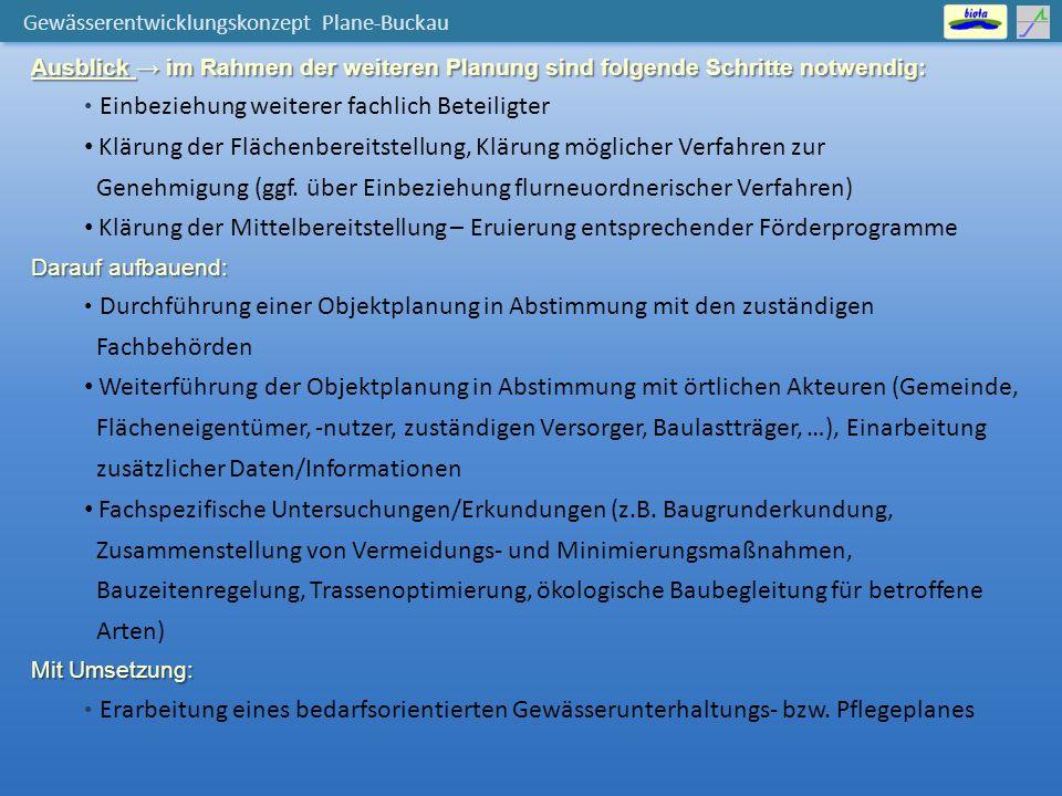 Gewässerentwicklungskonzept Plane-Buckau Ausblick → im Rahmen der weiteren Planung sind folgende Schritte notwendig: Einbeziehung weiterer fachlich Beteiligter Klärung der Flächenbereitstellung, Klärung möglicher Verfahren zur Genehmigung (ggf.