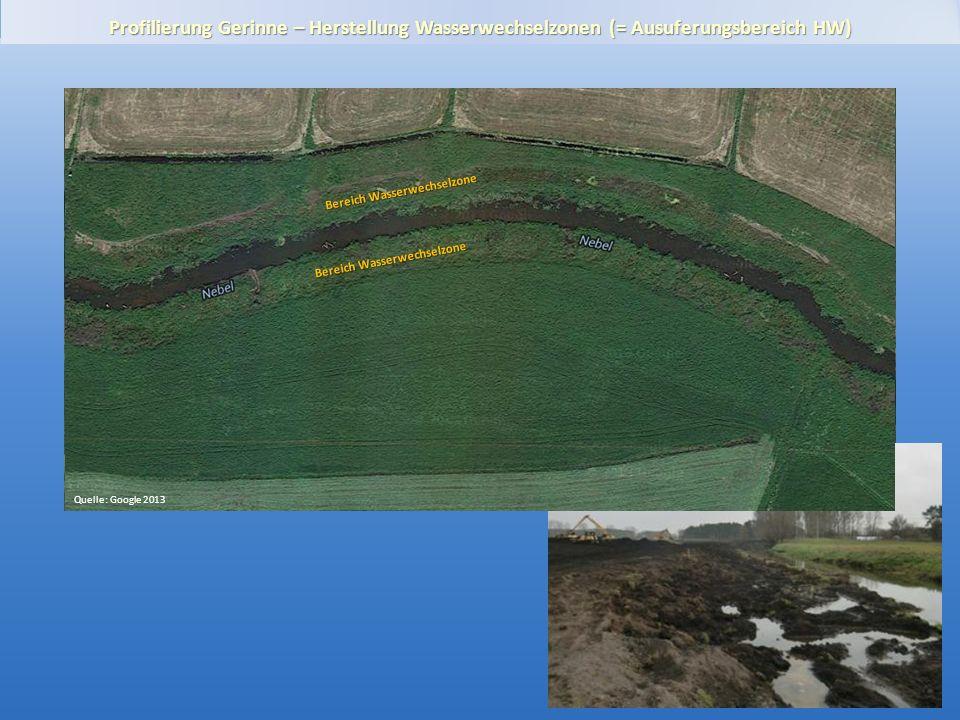 Gewässerentwicklungskonzept Plane-Buckau Profilierung Gerinne – Herstellung Wasserwechselzonen (= Ausuferungsbereich HW) Luftbild 2010, DOP20 Bereich Wasserwechselzone Quelle: Google 2013 Bereich Wasserwechselzone