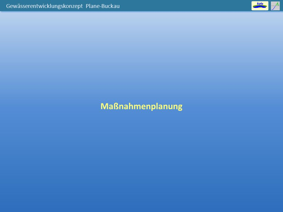 """Gewässerentwicklungskonzept Plane-Buckau Bewirtschaftungsziel erheblich veränderte Wasserkörper → """"gutes ökologisches Potenzial Buffbach (oberer WK) Temnitz (oberer WK) Briesener Bach Buffbach Temnitz"""