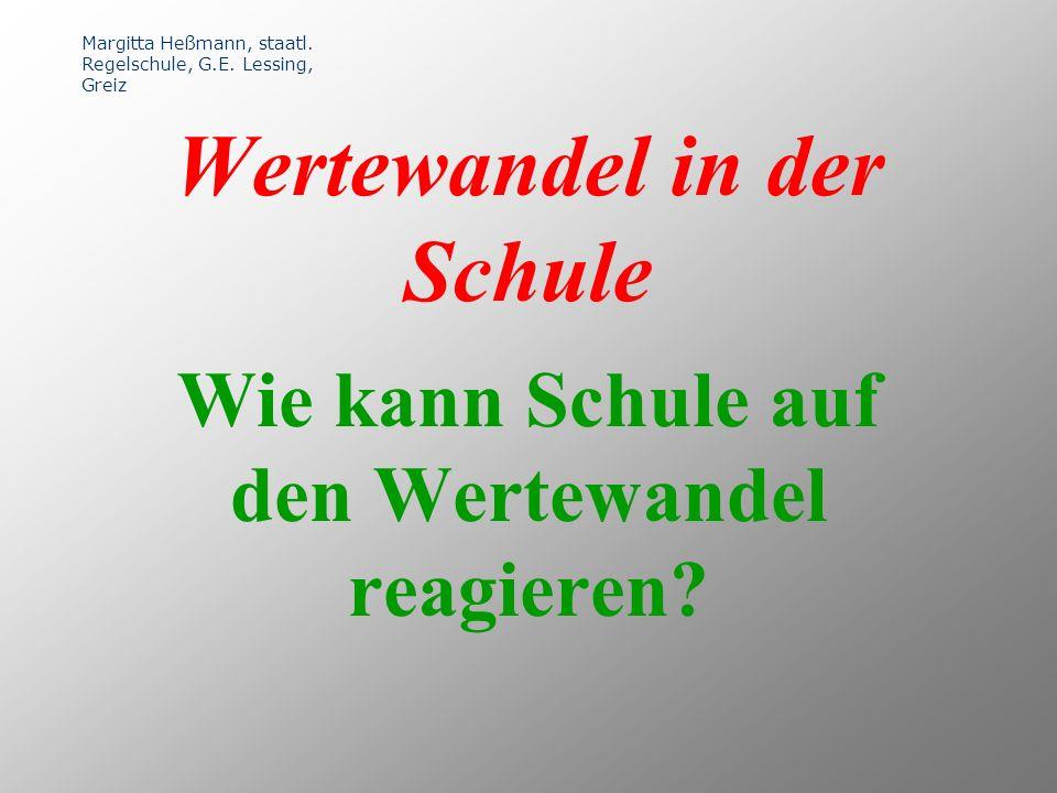 Wie kann Schule auf den Wertewandel reagieren. Wertewandel in der Schule Margitta Heßmann, staatl.