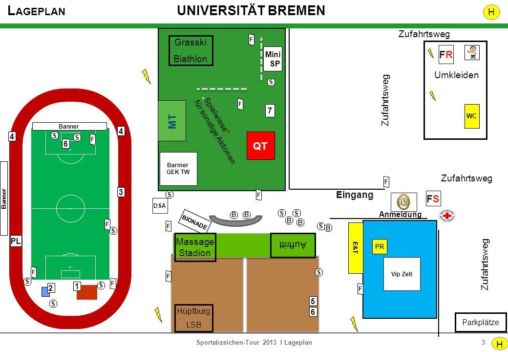 L AGEPLAN UNIVERSITÄT BREMEN 3Sportabzeichen-Tour 2013 I Lageplan Eingang 5 6 Anmeldung WC Umkleiden Parkplätze FRFR H Zufahrtsweg PL 1 Zufahrtsweg PR
