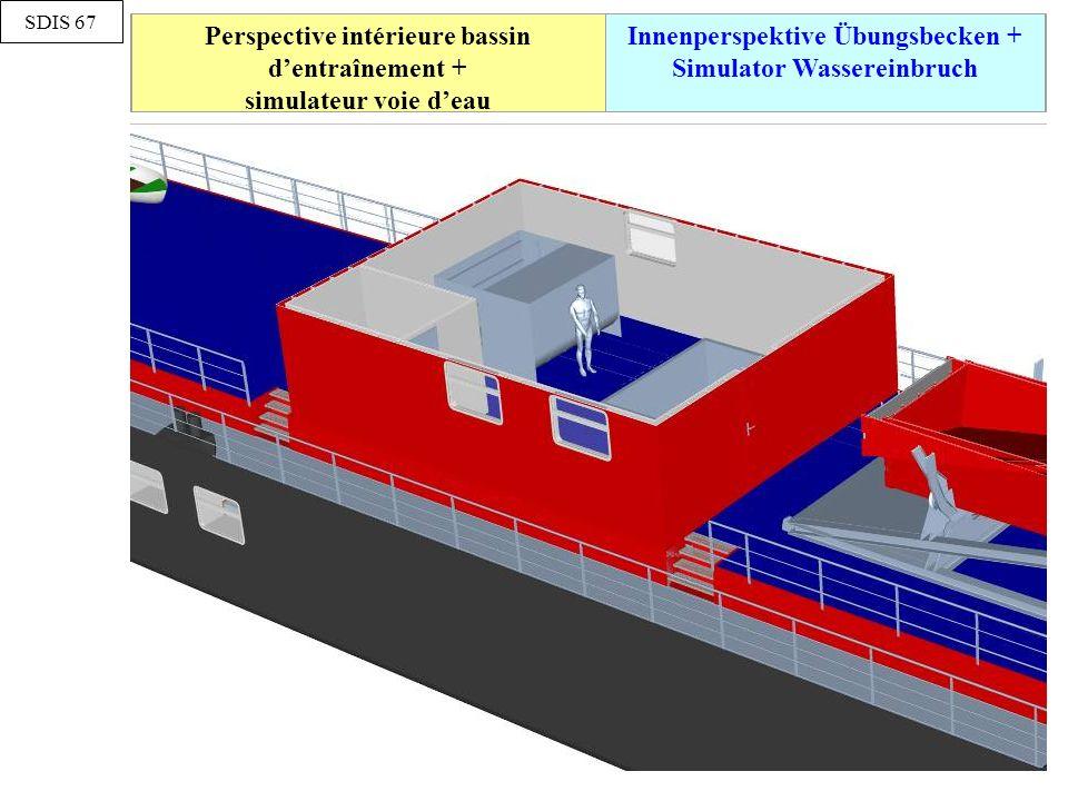 Perspective intérieure bassin d'entraînement + simulateur voie d'eau Innenperspektive Übungsbecken + Simulator Wassereinbruch SDIS 67