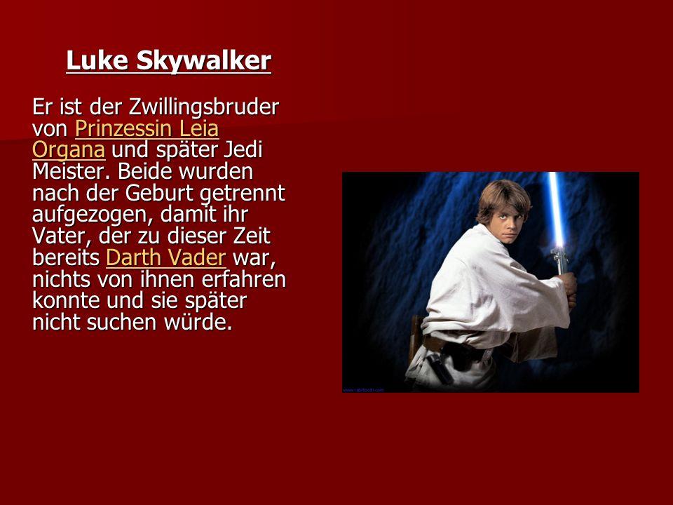 Luke Skywalker Er ist der Zwillingsbruder von Prinzessin Leia Organa und später Jedi Meister.